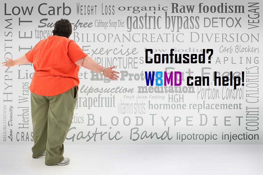 Overwhelmed Obese Woman Looking confused w8md can help
